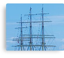 Tall Ship Mass & Flags Canvas Print