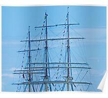 Tall Ship Mass & Flags Poster