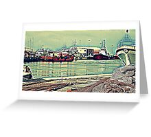 SHIPS AND BOATS IN THE HARBOR Greeting Card