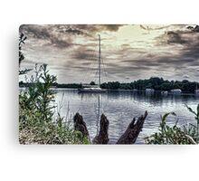 Yacht on Wroxham Broad. Canvas Print