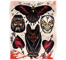 bat, skulls, hearts. old school tattoo flash Poster