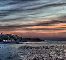 Sunset on Cromer Cliffs by Avril Harris
