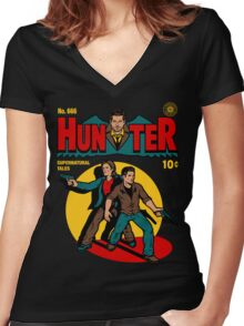 Hunter Comic Women's Fitted V-Neck T-Shirt