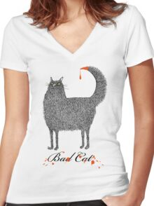 Bad Cat Women's Fitted V-Neck T-Shirt