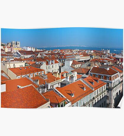 Baixa City Center of Lisbon Panoramic View Poster