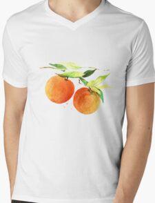 Watercolor oranges Mens V-Neck T-Shirt