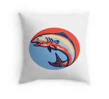 Atlantic Salmon Fish Jumping Retro Throw Pillow