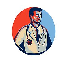 Doctor Stethoscope Standing Retro by patrimonio