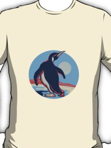 Penguin Walking Moon Retro T-Shirt