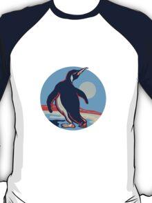 Penguin Walking Moon Retro T-Shirt