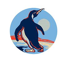 Penguin Walking Moon Retro by patrimonio