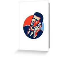 Businessman Talk Telephone Retro Greeting Card