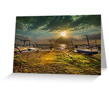 Indonesian Sailing Boats - Lovina Beach, Bali Greeting Card