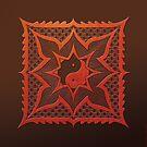 yin yang woodcut mandala (dáorashi) by peter barreda