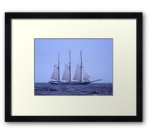 Tall Ship In The Fog Framed Print