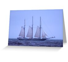 Tall Ship In The Fog Greeting Card