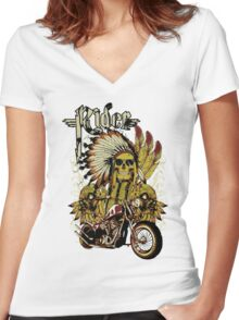 Indian rider Women's Fitted V-Neck T-Shirt