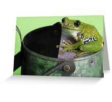Frog on  a watering can Greeting Card