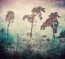 3 Trees - Vintage Grunge Landscape Art by Denis Marsili - DDTK