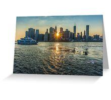 View of Manhattan at sunset, New York Greeting Card