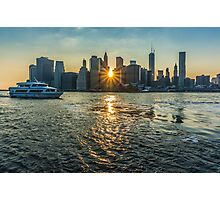 View of Manhattan at sunset, New York Photographic Print