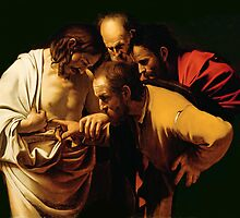 The Incredulity of St. Thomas by Caravaggio by Bridgeman Art Library