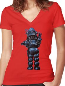 Robby The Robot Women's Fitted V-Neck T-Shirt