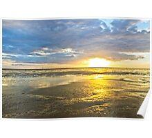 Crosby Beach Irish Sea sunset Poster