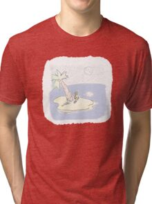 Looking at the Moon from Dessert Island Tri-blend T-Shirt