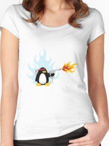 Flamethrower Penguin Women's Fitted Scoop T-Shirt