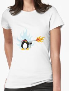 Flamethrower Penguin Womens Fitted T-Shirt