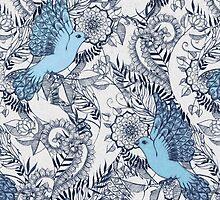 Flight of Fancy - navy, blue, grey by micklyn