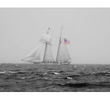 B & W Tall Ship In The Fog With A Hint Of Red Photographic Print