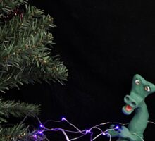 Dinosaur in the Christmas lights. Sticker