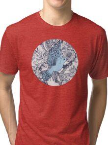 Flight of Fancy - navy, blue, grey Tri-blend T-Shirt