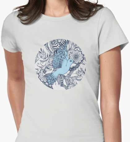 Flight of Fancy - navy, blue, grey Womens Fitted T-Shirt