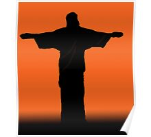 Christ the Redeemer silhouette sunset Poster