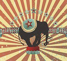 Vintage style circus elephant big top stripes by BigMRanch