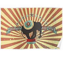 Vintage style circus elephant big top stripes Poster