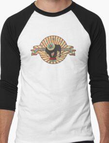Vintage style circus elephant big top stripes Men's Baseball ¾ T-Shirt