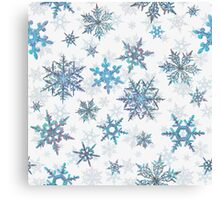 Embroidered Snowflakes on white Canvas Print