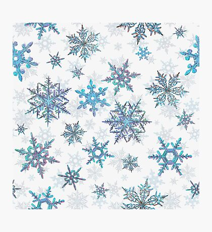 Embroidered Snowflakes on white Photographic Print