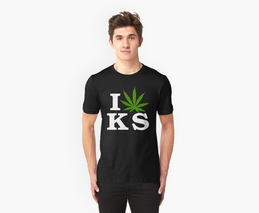I Love Kansas Marijuana Cannabis Weed T-Shirt by MarijuanaTshirt