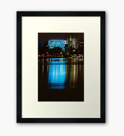 Perth at Night - Council House and Bell Tower -  Teal and Green Framed Print