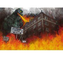 Clermont v/s Godzilla Photographic Print