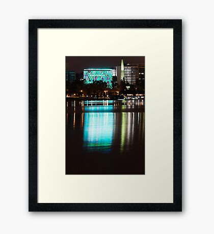 Perth at Night - Council House and Bell Tower -  Green Framed Print