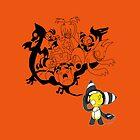 Music Demon Orange iPad Case (Black Outline) by NeroStreet