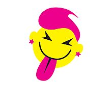 Pinky smiley face with tongue poking out CHEEKY! Photographic Print