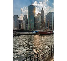 New York, a view of Manhattan from Pier 17 at sunset Photographic Print