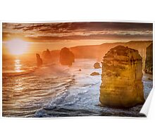 Sunset hugging the Twelve Apostles Poster